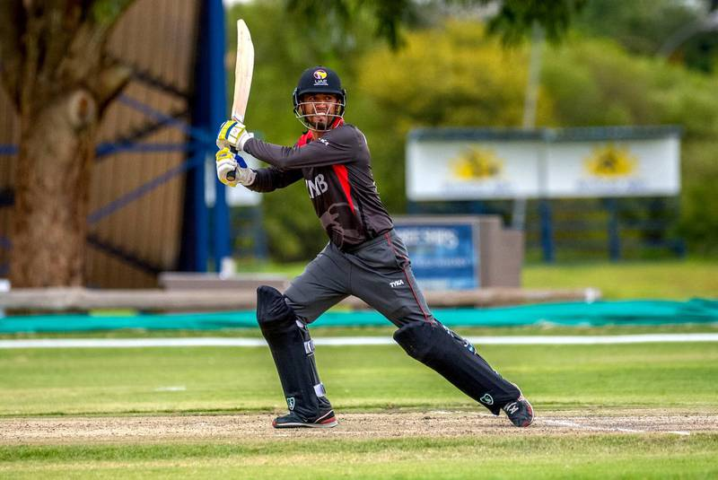 UAE's captain Rohan Mustafa in action for his country in the World Cricket League Division 2 in Namibia. Image courtesy of Johan Jooste.