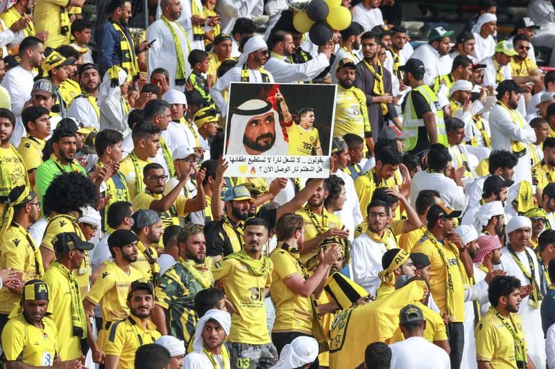 Abu Dhabi, UAE.  May 3, 2018.   President's Cup Final, Al Ain FC VS. Al Wasl.  The Al Wasl fans before the match.Victor Besa / The NationalSportsReporter: John McAuley
