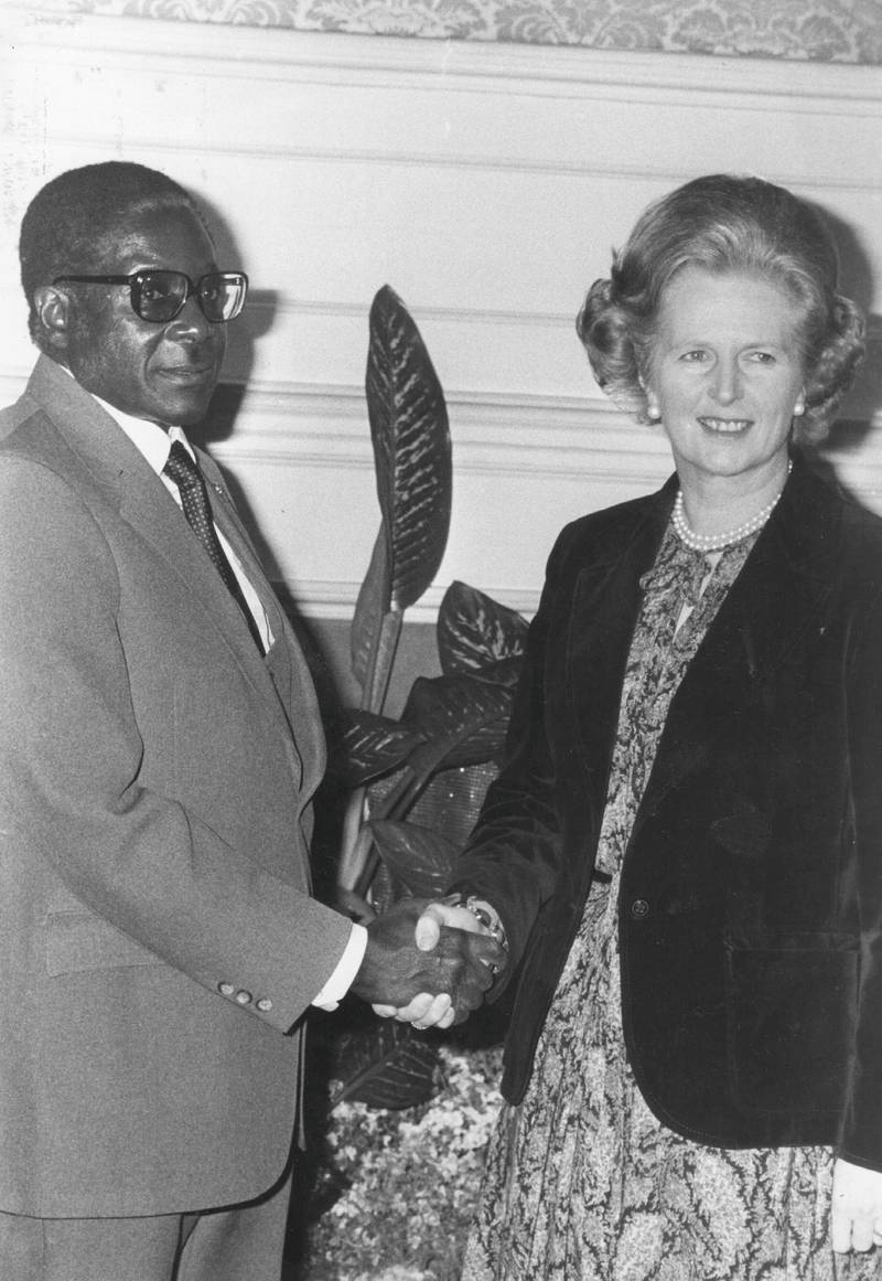 African nationalist and Zimbabe's first prime minister Robert Gabriel Mugabe meeting British prime minister Margaret Thatcher at No 10 Downing Street, en route to President Tito's funeral in Yugoslavia.  Original Publication: People Disc - HN0598   (Photo by Evening Standard/Getty Images)