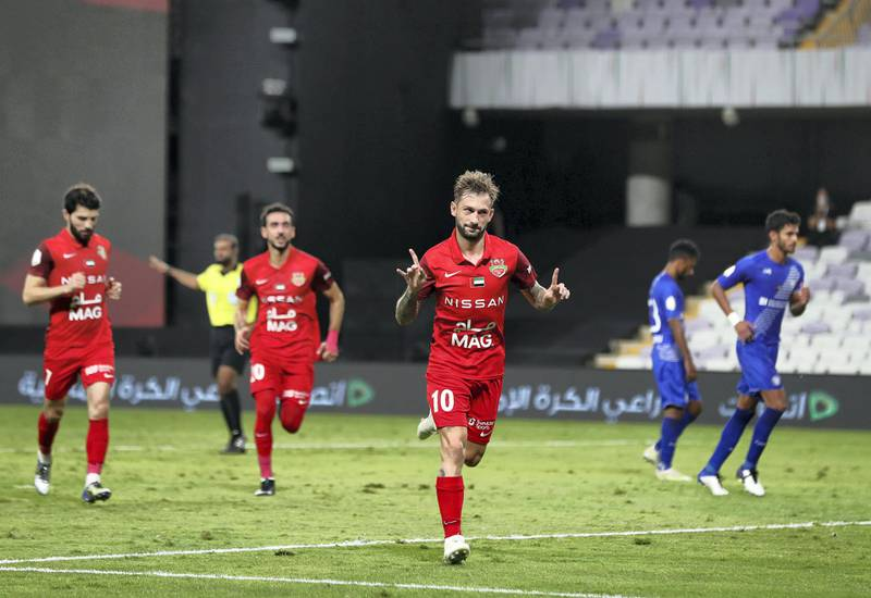 Shabab Al Ahli's Federico Cartabia scores a penalty in the game between Shabab Al Ahli and Al Nasr in the PresidentÕs Cup final in Al Ain on May 16th, 2021. Chris Whiteoak / The National.  Reporter: John McAuley for Sport
