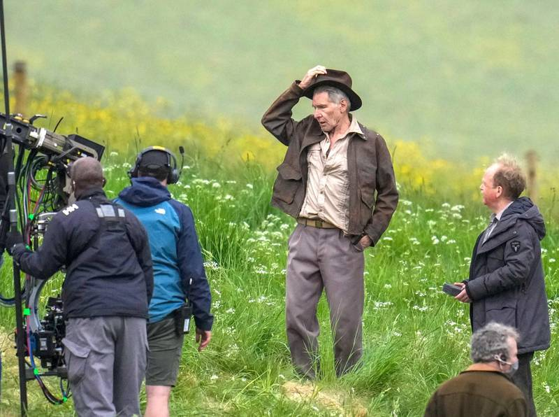 Harrison Ford and Toby Jones photographed on set during filming of the new Indiana Jones movie in Leaderfoot in the Scottish Borders. Shutterstock