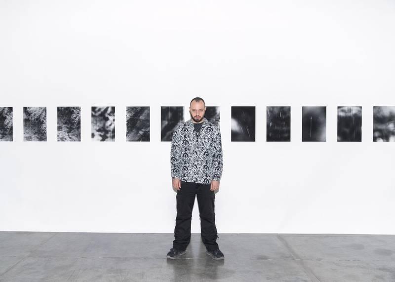 DUBAI, UNITED ARAB EMIRATES. 18 JANUARY 2021. Stelios Kallinikou at Grey Noise, where his solo Nebokeru is exhibited. (Photo: Reem Mohammed/The National)Reporter:Section: