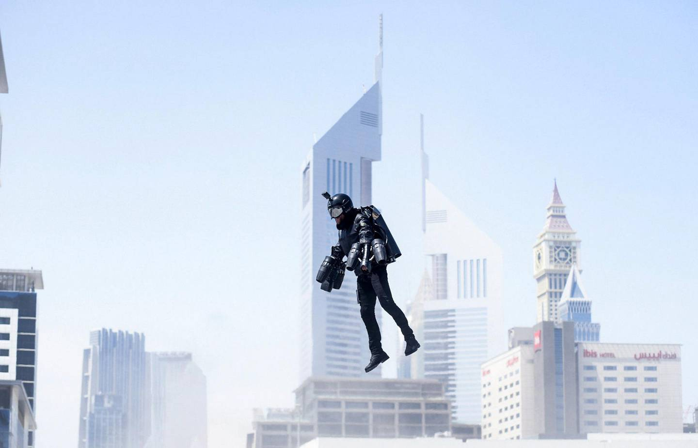 DUBAI , UNITED ARAB EMIRATES , MAY 1  – 2018 :- Richard Browning , Inventor of World's fastest jet pack during the live demonstration at the GISEC Future Technology Week held at Dubai World Trade Centre in Dubai. For News. Story by James Lagton