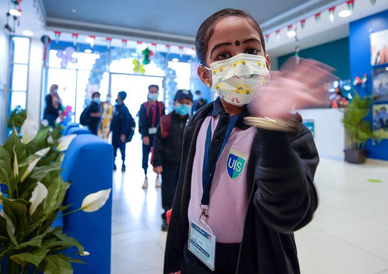 Abu Dhabi, United Arab Emirates, February 14, 2021. Pupils return to Abu Dhabi's private schools. GEMS United Indian School – Abu Dhabi.  A few students arrive in spite of the foggy conditions.Victor Besa/The NationalSection: NAReporter:  Anam Rizvi