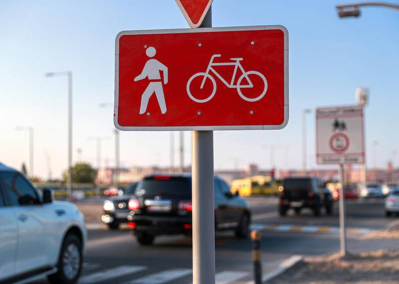 Abu Dhabi, United Arab Emirates, November 9, 2020.   The cycling pathway on Al Mireef street, Khalifa City in it's final stages of development. Victor Besa/The National Section:  NA FOR:  Standalone/Stock Images