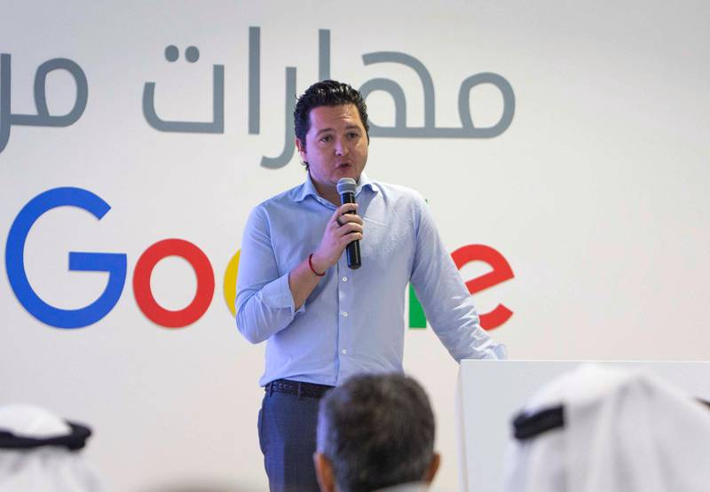 DUBAI, UNITED ARAB EMIRATES, April 15, 2018 - Tareq Abdalla Head of Marketing Google MENA speaking at the Maharat Min Google announcement at Youth X Hub, Jumeirah Emirates Tower, Dubai. (Leslie Pableo/For The National) for Business story by Sarmad Khan