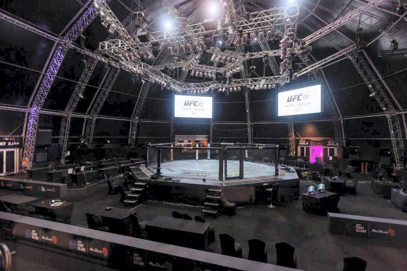A general view of the Flash Forum on UFC Fight Island prior to the UFC 251 event on Yas Island in Abu Dhabi. John McAuley / The National
