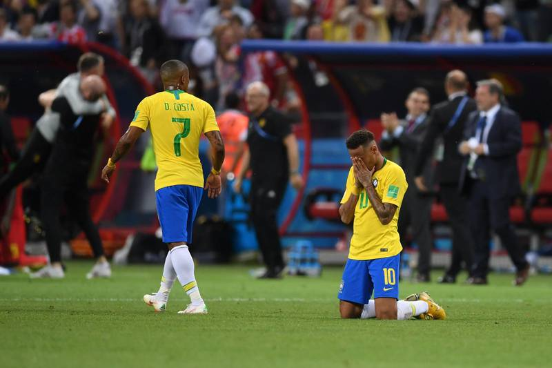 KAZAN, RUSSIA - JULY 06:  Neymar Jr of Brazil looks dejected following his sides defeat in the 2018 FIFA World Cup Russia Quarter Final match between Brazil and Belgium at Kazan Arena on July 6, 2018 in Kazan, Russia.  (Photo by Laurence Griffiths/Getty Images)