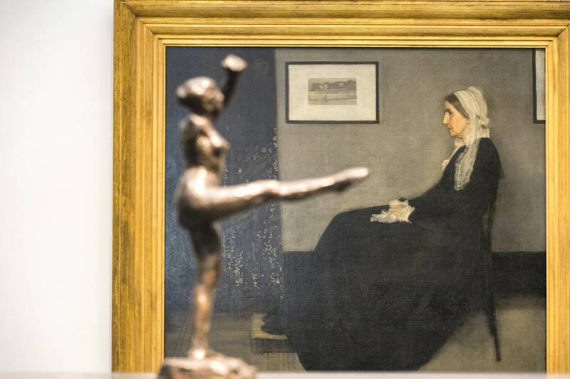 Abu Dhabi, United Arab Emirates, November 6, 2017:      Arrangement in Grey and Black No.1, also known as Whistler's Mother seen behind sculptures by Edgar Degas  General view of the Louvre Abu Dhabi during the media tour ahead of opening day on Saadiyat Island in Abu Dhabi on November 6, 2017. The Louvre Abu Dhabi will open November 11th. Christopher Pike / The National  Reporter: Mina Aldroubi Section: News