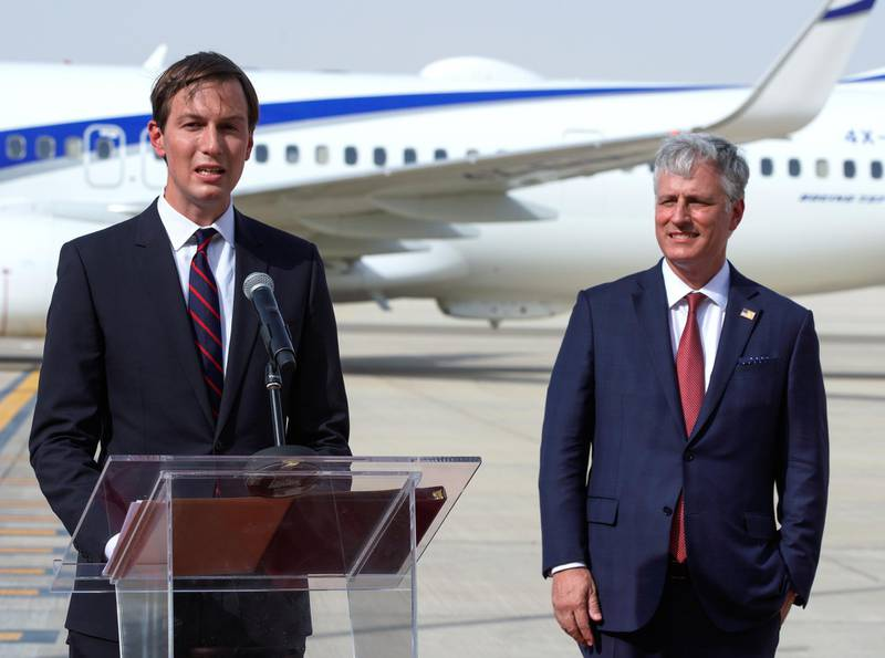 Abu Dhabi, United Arab Emirates, August 31, 2020. Senior White House adviser Jared Kushner, right, says some words upon arrival as US National Security Adviser Robert O'Brien looks on after disembarking the El Al's flight in Abu Dhabi.Victor Besa /The NationalSection:  NAReporter:  Khaled Owais