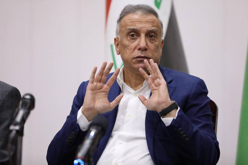 Iraqi Prime Minister Mustafa al-Kadhimi gestures during a meeting with security leaders, in Basra, Iraq August 22, 2020. Picture taken August 22, 2020. Iraqi Prime Minister Media Office/Handout via REUTERS   ATTENTION EDITORS - THIS IMAGE WAS PROVIDED BY A THIRD PARTY