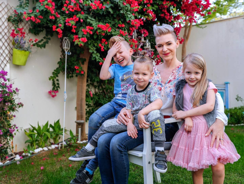 Abu Dhabi, U.A.E., January 28, 2018.  Svetia Deshais, a financial planner based in Abu Dhabi.  She has three kids (L-R) Raffael, six, Enzo, three  and Nina, four.Victor Besa / The NationalBusinessREPORTER: Gillian Duncan