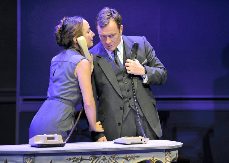 LONDON, ENGLAND - SEPTEMBER 08:Toby Stephens as Terje Larsen and Lydia Leonard as Mona Juul in J.T.Rogers's Oslo directed by Bartlett Sher at The National Theatre on September 8, 2017 in London, England. (Photo by Robbie Jack/Corbis via Getty Images)