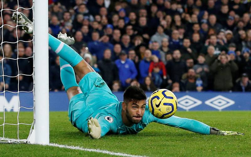 """Soccer Football - Premier League - Everton v Tottenham Hotspur - Goodison Park, Liverpool, Britain - November 3, 2019  Tottenham Hotspur's Paulo Gazzaniga in action  REUTERS/Andrew Yates  EDITORIAL USE ONLY. No use with unauthorized audio, video, data, fixture lists, club/league logos or """"live"""" services. Online in-match use limited to 75 images, no video emulation. No use in betting, games or single club/league/player publications.  Please contact your account representative for further details."""