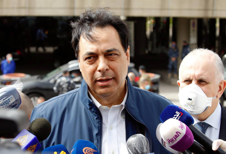 FILE PHOTO: Lebanese Prime Minister Hassan Diab speaks to the media outside Beirut's international airport, Lebanon April 5, 2020. REUTERS/Mohamed Azakir/File Photo