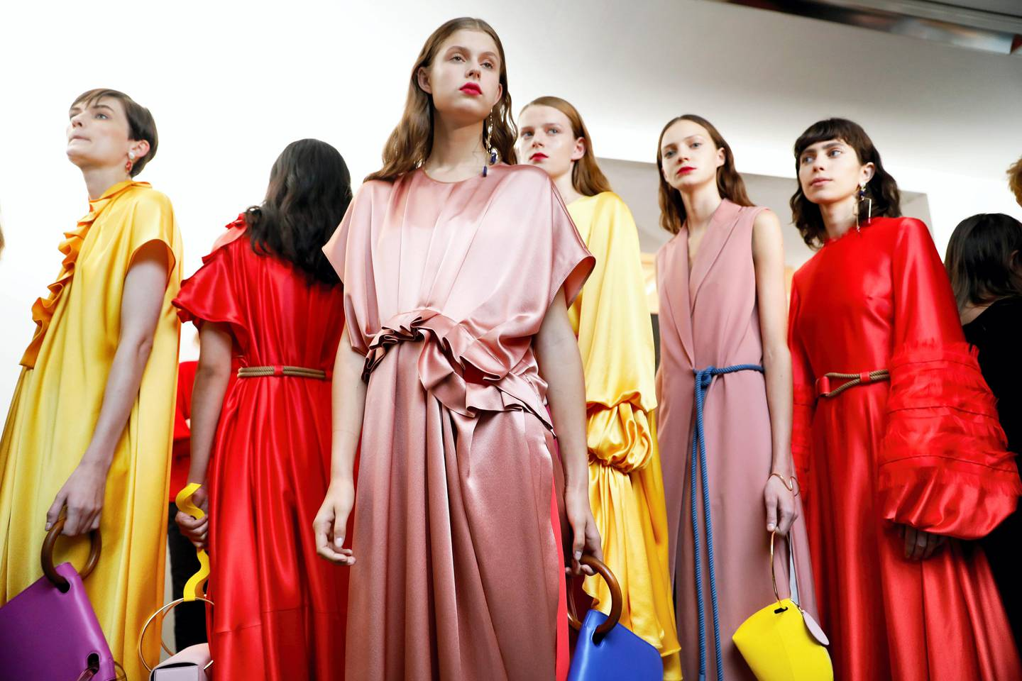 LONDON, ENGLAND - SEPTEMBER 18:  Models backstage ahead of the Roksanda show during London Fashion Week September 2017 on September 18, 2017 in London, England.  (Photo by Tristan Fewings/BFC/Getty Images for The British Fashion Council)