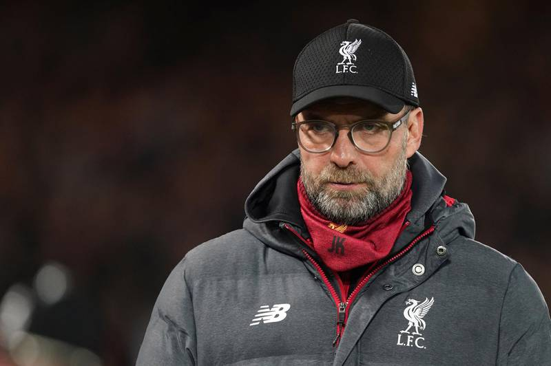 Liverpool's manager Jurgen Klopp waits for the start of the English Premier League soccer match between Liverpool and Sheffield United at Anfield Stadium, Liverpool, England, Thursday, Jan. 2, 2020. (AP Photo/Jon Super)