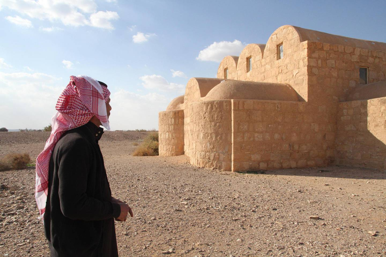 Hakem Al Sabileh looks towards Quseir Amra. Amy McConaghy / The National
