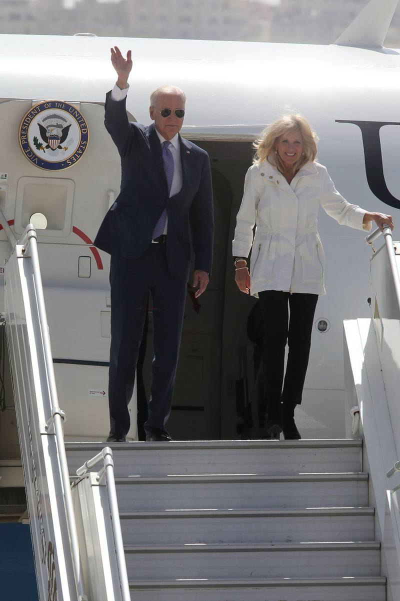 AMMAN, JORDAN - MARCH 10:  U.S Vice President Joe Biden and wife Jill arrive at Marka airport on March 10, 2016 in Amman, Jordan. This is the final stop on Biden's Middle East tour that also took in Israel and the Palestinian territories. ( Photo by Jordan Pix/Getty Images)