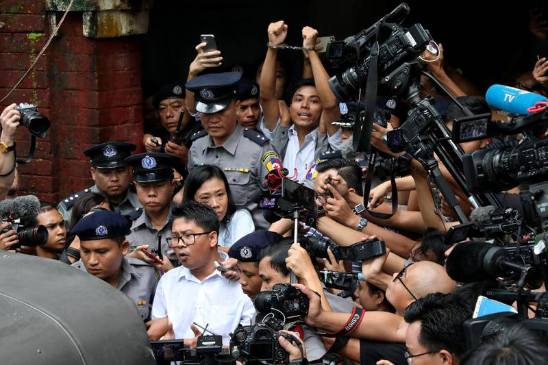 Detained Reuters journalists Wa Lone and Kyaw Soe Oo leave Insein court after listening to the verdict in Yangon, Myanmar September 3, 2018. REUTERS/Stringer NO RESALES NO ARCHIVES       TPX IMAGES OF THE DAY