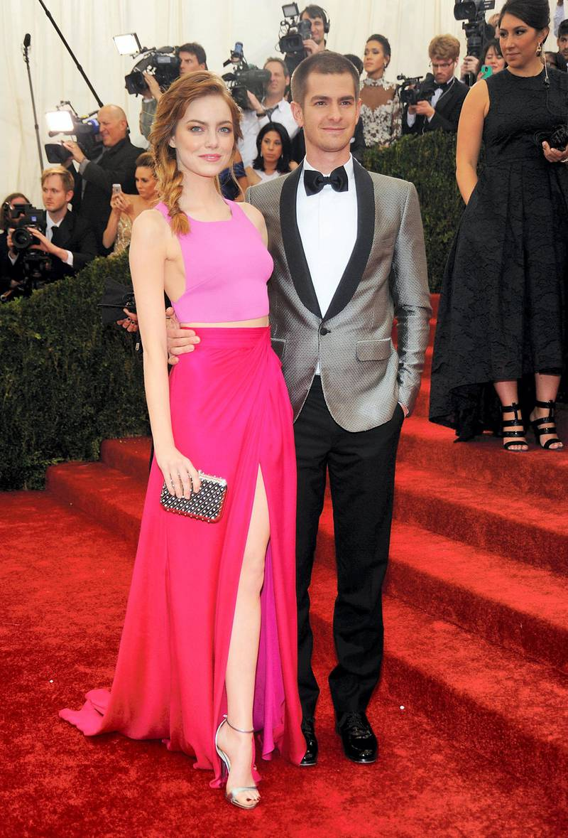 """NEW YORK, NY - MAY 05:  Emma Stone and Andrew Garfield attends the """"Charles James: Beyond Fashion"""" Costume Institute Gala at the Metropolitan Museum of Art on May 5, 2014 in New York City.  (Photo by Rabbani and Solimene Photography/Getty Images)"""