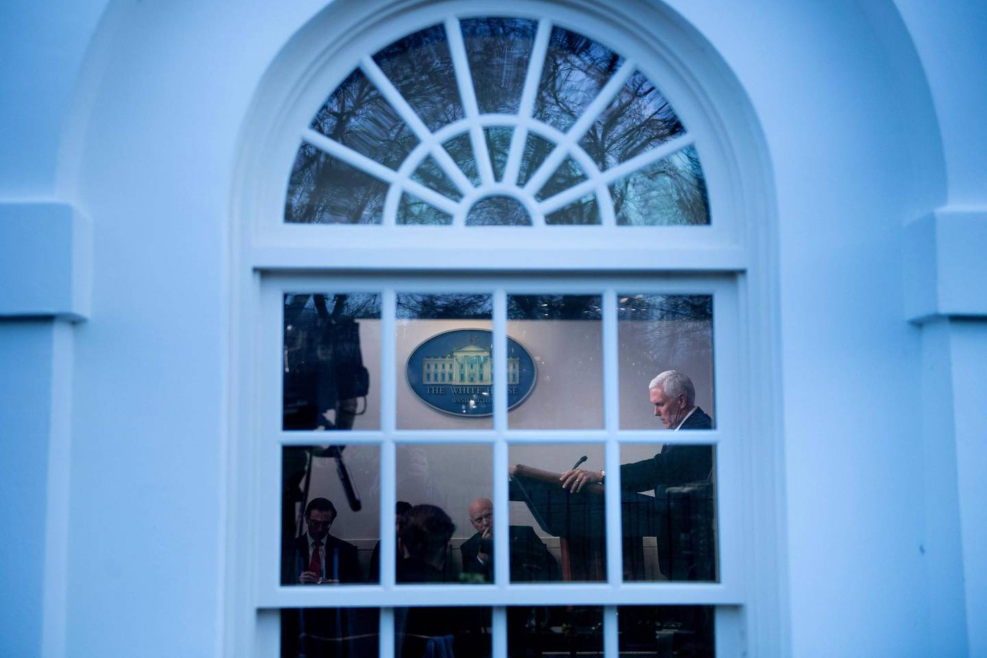 TOPSHOT - US Vice President Mike Pence speaks during a COVID-19 response briefing at the White House March 3, 2020, in Washington, DC. / AFP / Brendan Smialowski