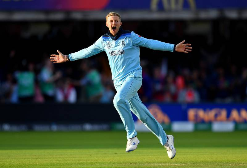LONDON, ENGLAND - JULY 14: Joe Root of England celebrates victory during the Final of the ICC Cricket World Cup 2019 between New Zealand and England at Lord's Cricket Ground on July 14, 2019 in London, England. (Photo by Clive Mason/Getty Images)