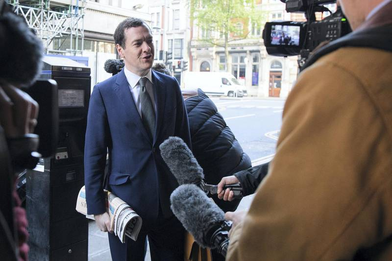 LONDON, ENGLAND - MAY 02:  Former Chancellor of the Exchequer George Osborne arrives at the offices of the Evening Standard newspaper on his first official day in the role of editor, on May 2, 2017 in London, England.  Mr Osborne announced that he was stepping down from his seat as MP for Tatton following criticism for accepting the media position.  (Photo by Leon Neal/Getty Images)