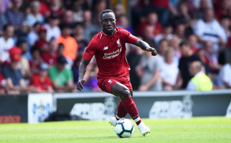 BURY, ENGLAND - JULY 14: Naby Keita of Liverpool controls the ball during a pre-season friendly match between Bury and Liverpool at Gigg Lane on July 14, 2018 in Bury, England. (Photo by Nathan Stirk/Getty Images)