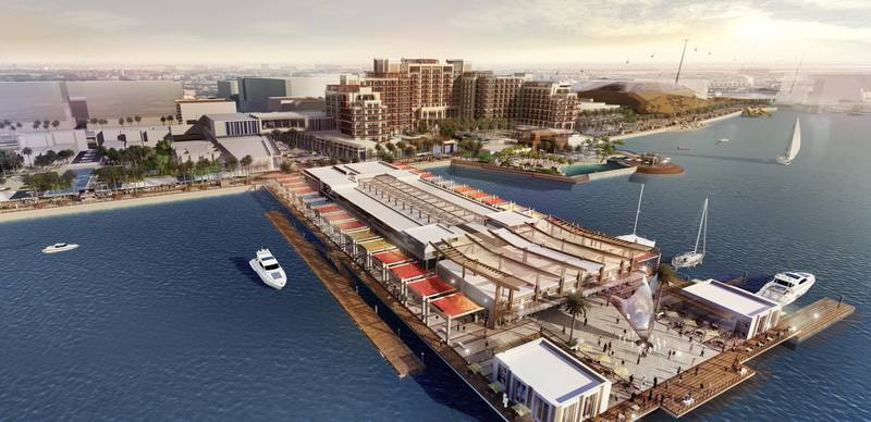 Yas Bay Pier // ABU DHABI, UAE – 8 May 2017: Rendering of Miral's AED12 billion master development plan to transform the southern end of Yas Island in Abu Dhabi. The development is comprised of three distinct areas: Yas Bay, a vibrant public waterfront and entertainment district; the Media Zone, featuring the new campus of twofour54; and the Residences at Yas Bay, an urban island community, offering the complete Yas Island lifestyle. Courtesy Miral  *** Local Caption ***  Yas Bay Pier.jpg