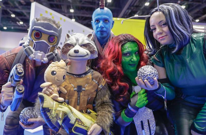 Dubai, April 12, 2019.  MEFCC day 2-Guardians of the Galaxy cosplayers.Victor Besa/The National.Section:  AC  Reporter:  Chris Newbould