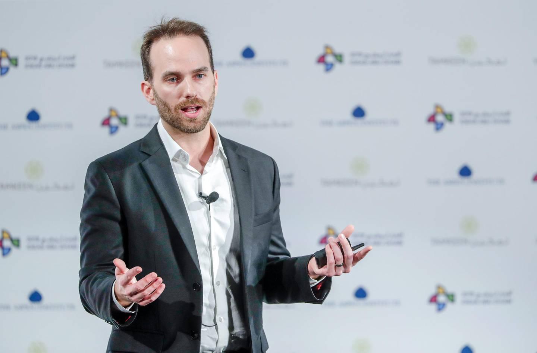 Abu Dhabi, United Arab Emirates, March 28, 2019.   IDEAS Abu Dhabi Forum.--  Josh Giegel, C0-Founder and CTO, Virgin Hyperloop One.Victor Besa/The NationalSection:  NAReporter:  Dan Sanderson