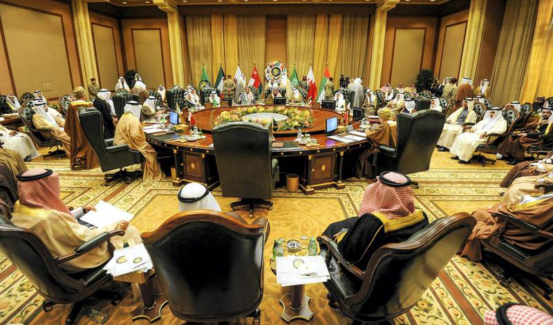 epa06366478 A general view of the foreign ministers meeting ahead of the 38th Gulf Cooperation Council (GCC) Summit, at Bayan palace in Kuwait City, Kuwait, 04 December 2017. Gulf Cooperation Council (GCC) Foreign Ministers held their 144th meeting ahead of the 38th Summit on 05 and December.  EPA-EFE/NOUFAL IBRAHIM *** Local Caption *** 53935305