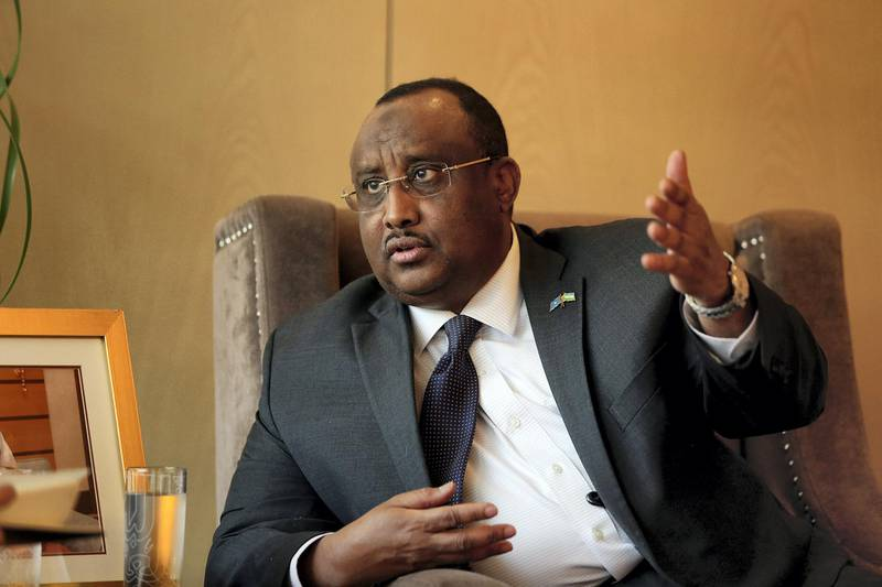 Dubai, April 26, 2018: Abdiweli Ali, President, Puntland  gestures during the interview at the Dubai Press Club at Convention Tower in Dubai. Satish Kumar for the National / Story by Charlie Mitchel