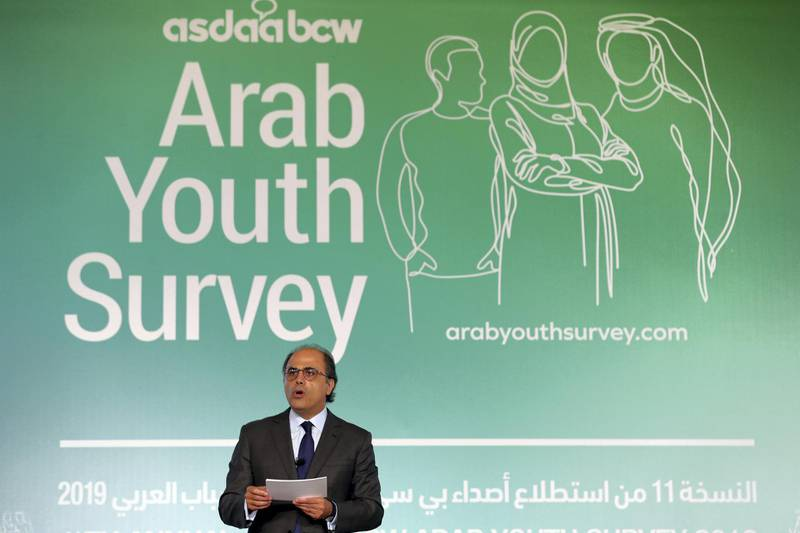 Dubai, United Arab Emirates - April 30, 2019: Jihad Azour, Director, Middle East and Central Asia Department International Monetary Fund presents the keynote speech at the 11th annual Arab Youth Survey. Tuesday the 30th of April 2019. DIFC, Dubai. Chris Whiteoak / The National