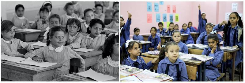 """A combination picture shows students attending a lesson inside a classroom in Jabal el-Hussein camp in Amman, Jordan, in this handout photo believed to be taken in 1971. UNRWA/Munir Nasr/Handout via REUTERS (L) and schoolchildren attending a lesson in a classroom at one of the UNRWA schools at Jabal el-Hussein Palestinian refugee camp in Amman, Jordan, September 29, 2019. REUTERS/Muhammad Hamed  ATTENTION EDITORS - THIS IMAGE WAS PROVIDED BY A THIRD PARTY. NO RESALES. NO ARCHIVES SEARCH """"UNRWA COMBOS"""" FOR THIS STORY. SEARCH """"WIDER IMAGE"""" FOR ALL STORIES."""