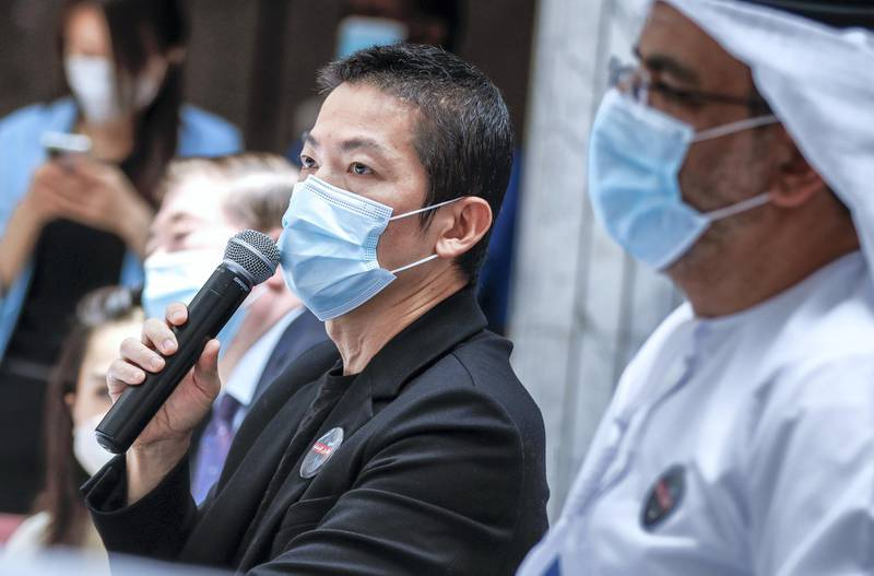Abu Dhabi, United Arab Emirates, July 16, 2020.     Press Conference of the groundbreaking Phase III clinical trial of a COVID-19 vaccine in Abu Dhabi at the Sheikh Khalifa Medical City.--Mr. Peng Xiao, Group CEO, G42.Victor Besa  / The NationalSection: NAReporter:  Shireena Al Nowais