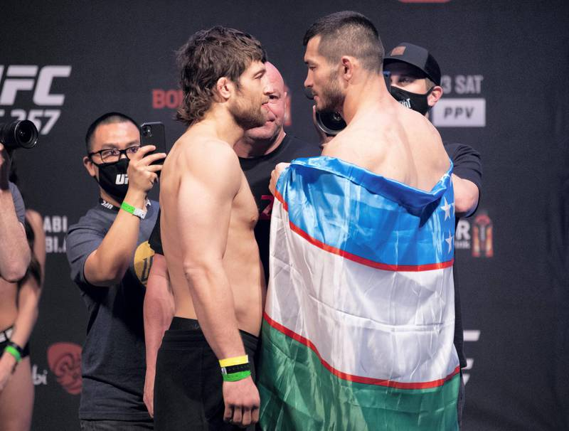 ABU DHABI, UNITED ARAB EMIRATES - JANUARY 22: (L-R) Opponents Andrew Sanchez and Makhmud Muradov of Uzbekistan face off during the UFC 257 weigh-in at Etihad Arena on UFC Fight Island on January 22, 2021 in Abu Dhabi, United Arab Emirates. (Photo by Jeff Bottari/Zuffa LLC) *** Local Caption *** ABU DHABI, UNITED ARAB EMIRATES - JANUARY 22: (L-R) Opponents Andrew Sanchez and Makhmud Muradov of Uzbekistan face off during the UFC 257 weigh-in at Etihad Arena on UFC Fight Island on January 22, 2021 in Abu Dhabi, United Arab Emirates. (Photo by Jeff Bottari/Zuffa LLC)