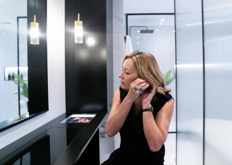 DUBAI, UNITED ARAB EMIRATES. 16 OCTOBER 2019. Interior stylist Rhian Clarke vanity dresser in Mirador, Arabian Ranches.(Photo: Reem Mohammed/The National)Reporter:Section: