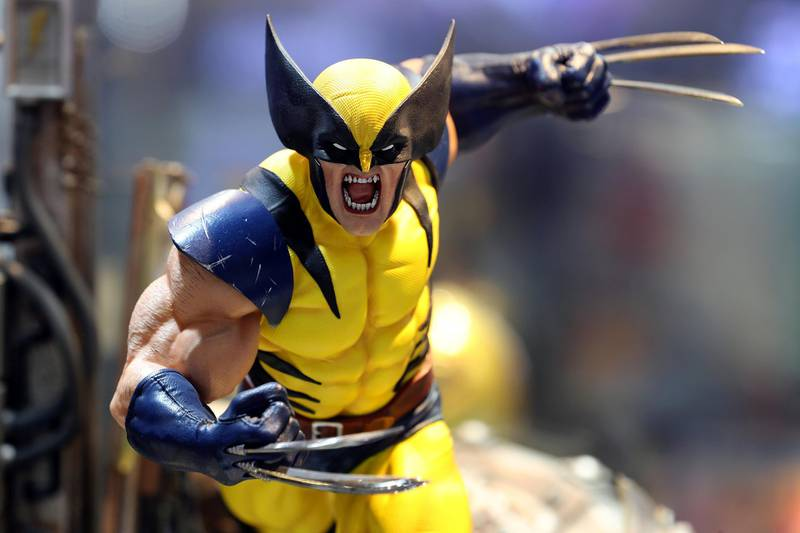 Dubai, United Arab Emirates - May 26, 2019: Photo Project. Wolverine figurine. Comicave is the WorldÕs largest pop culture superstore involved in the retail and distribution of high-end collectibles, pop-culture merchandise, apparels, novelty items, and likes. Thursday the 30th of May 2019. Dubai Outlet Mall, Dubai. Chris Whiteoak / The National