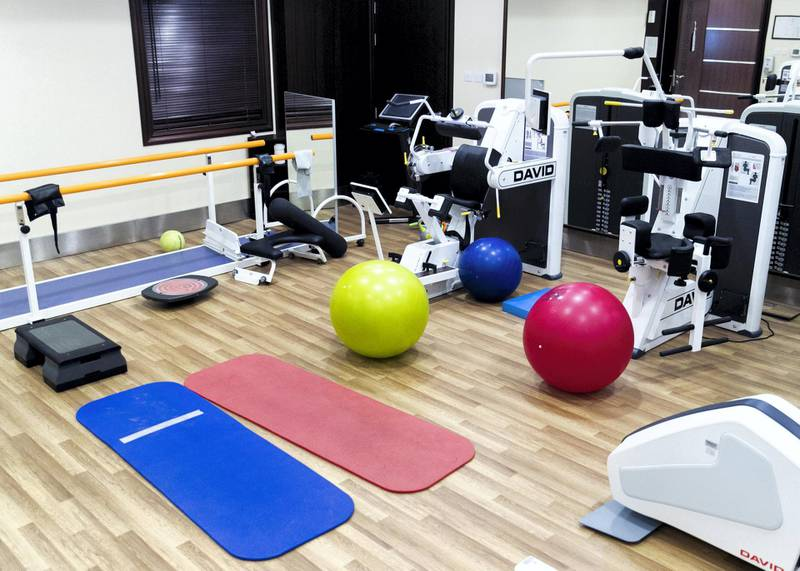 DUBAI, UNITED ARAB EMIRATES. 18 OCTOBER 2020. Physiotherapy facility.RAK Hospital has introduced a free-of-cost programme that offers physical, cognitive, dietary and psychological support to patients.(Photo: Reem Mohammed/The National)Reporter:Section: