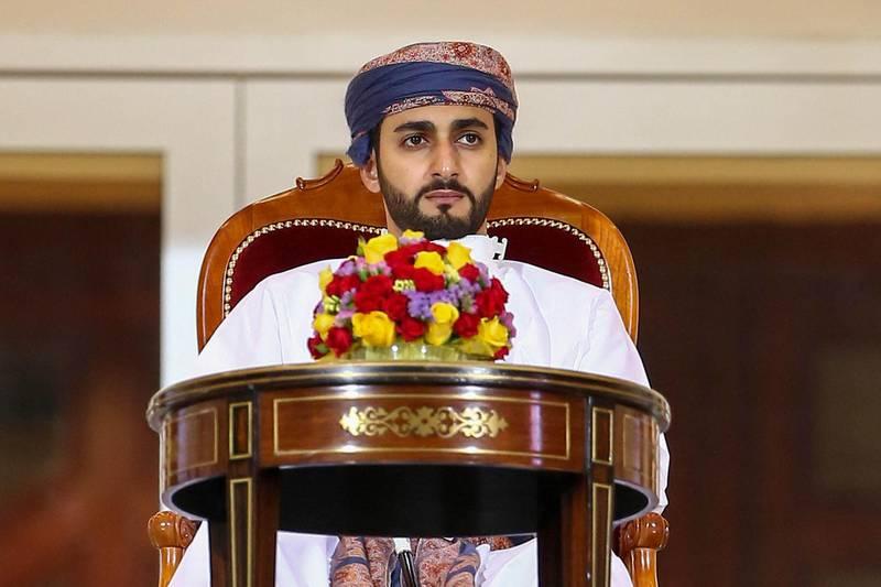 Omani Minister of Sport Sayyid Dhi Yazan bin Haitham attends the Sultan Qaboos Cup final between Dhofar and Al-Orouba at the Rustaq Sports Complex west of the Omani capital Muscat on November 29, 2020. (Photo by Haitham AL-SHUKAIRI / AFP)