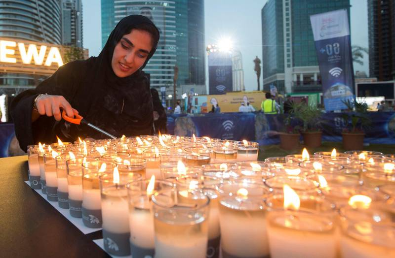 DUBAI, UNITED ARAB EMIRATES - at the DEWA, Earth Hour at Mirasi Promenade, Dubai.  Leslie Pableo for The National