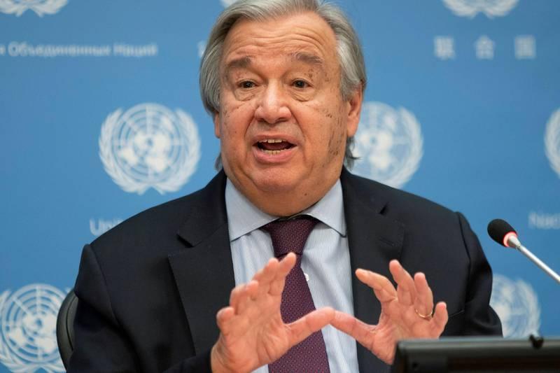 FILE PHOTO: United Nations Secretary-General Antonio Guterres speaks during a news conference at U.N. headquarters in New York City, New York, U.S., November 20, 2020. REUTERS/Eduardo Munoz/File Photo
