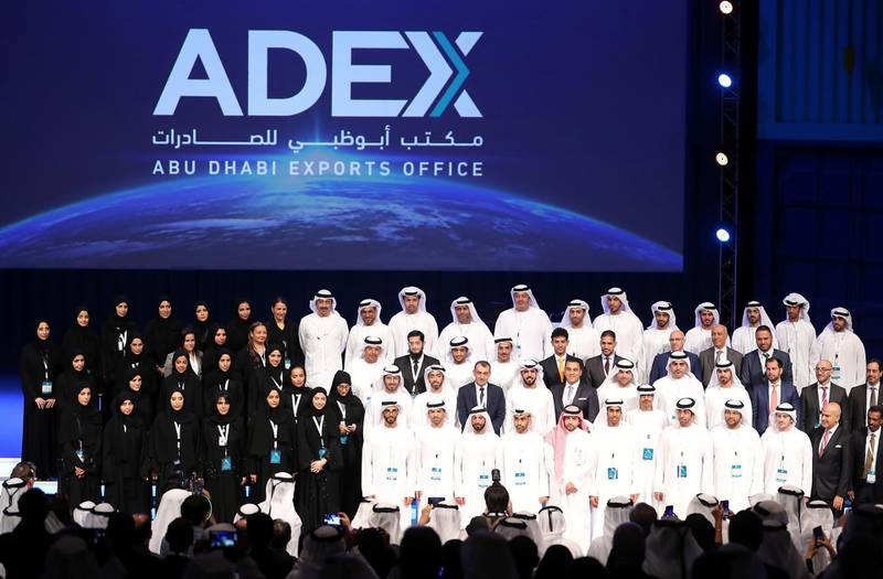 ABU DHABI ,  UNITED ARAB EMIRATES , SEPTEMBER 9 – 2019 :- Sheikh Abdullah bin Zayed Al Nahyan ,  Minister of Foreign Affairs and International Cooperation with the team members of ADFD and ADEX after the launch of Abu Dhabi Exports Office programme held at Emirates Palace hotel in Abu Dhabi. ( Pawan Singh / The National ) For Business. Story by Sarmad