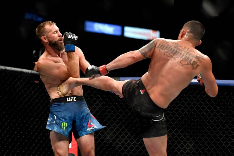 JACKSONVILLE, FLORIDA - MAY 09: Anthony Pettis (R) of the United States kicks Donald Cerrone (L) of the United States in their Welterweight fight during UFC 249 at VyStar Veterans Memorial Arena on May 09, 2020 in Jacksonville, Florida.   Douglas P. DeFelice/Getty Images/AFP