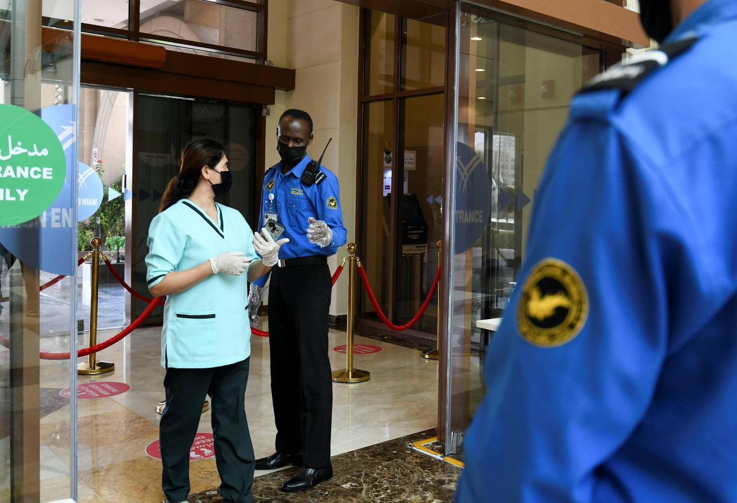 New Covid Restrictions-AD New mandatory entrance procedures carried out for all customers at Khalidiyah Mall on June 15, 2021. Khushnum Bhandari/ The National Reporter: Haneen Dajani News