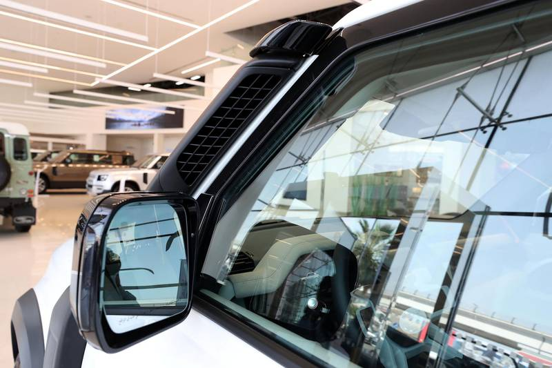 DUBAI, UNITED ARAB EMIRATES , June 27 – 2020 :- Exhaust of the Land Rover Defender SE model on display at the Land Rover Defenders showroom on Sheikh Zayed Road in Dubai. (Pawan Singh / The National) For Motoring. Story by Simon