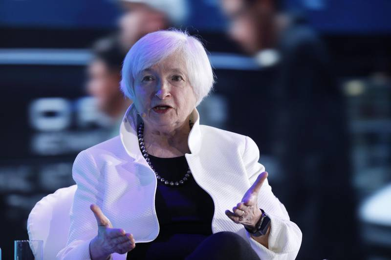 Janet Yellen, former chair of the U.S. Federal Reserve, speaks during a panel discussion at the Bloomberg New Economy Forum in Singapore, on Wednesday, Nov. 7, 2018. The New Economy Forum, organized by Bloomberg Media Group, a division of Bloomberg LP, aims to bring together leaders from public and private sectors to find solutions to the world's greatest challenges. Photographer: Justin Chin/Bloomberg