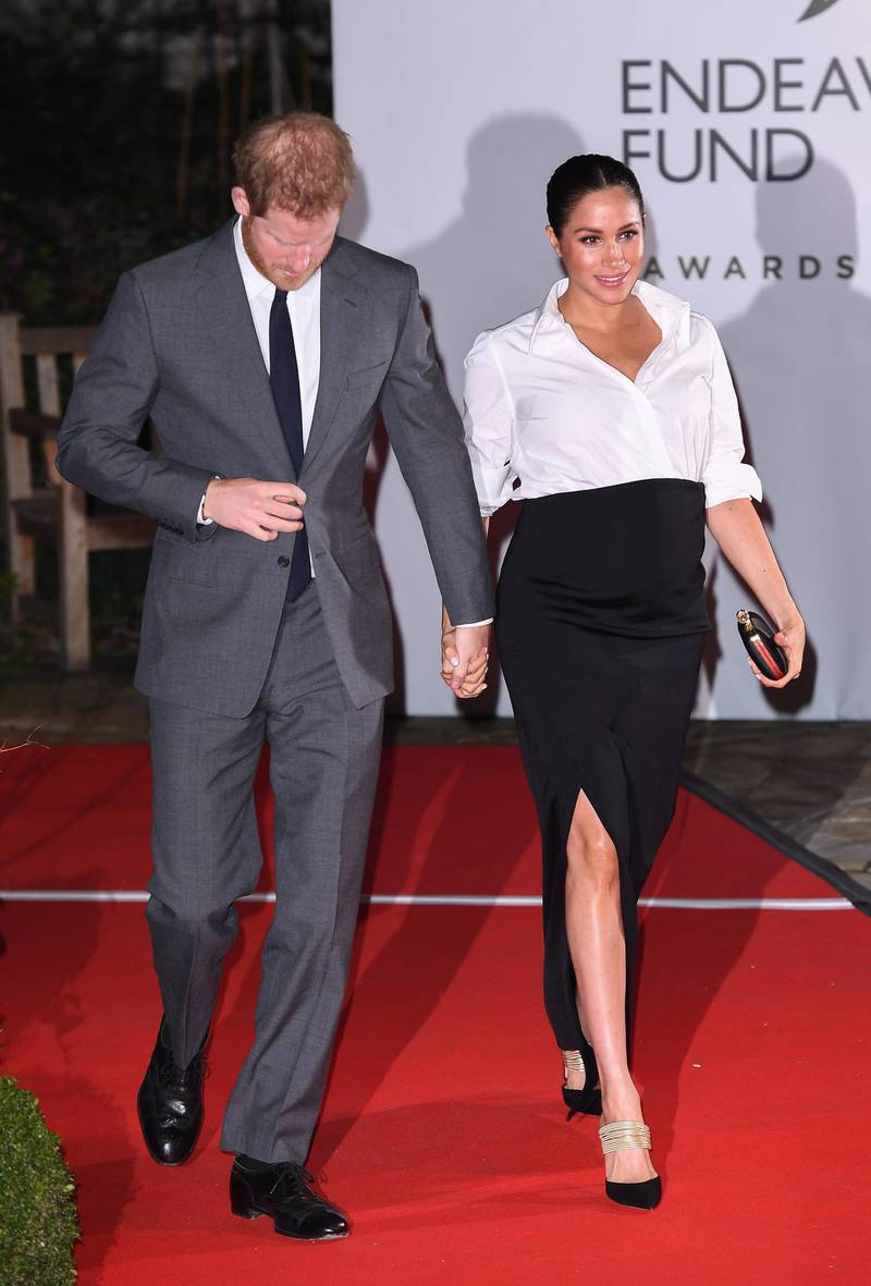 LONDON, ENGLAND - FEBRUARY 07:  The Duke and Duchess of Sussex attend the Endeavour Fund awards at Drapers' Hall on February 07, 2019 in London, England. (Photo by Jeff Spicer/Getty Images)